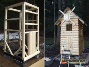 Процесс изготовления туалета в виде мельницы