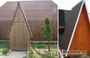 Деревянный туалет-шалаш для дачного участка