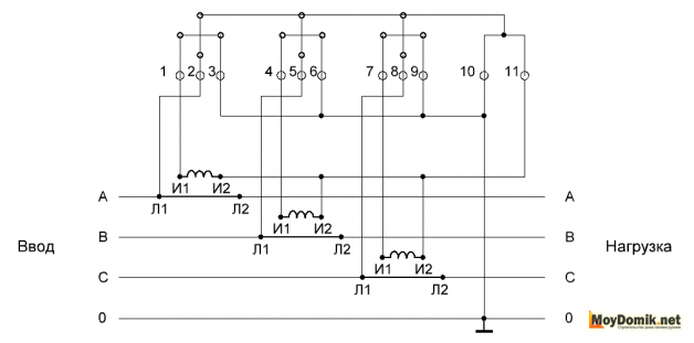 Схема с подключением трансформаторов тока в звезду