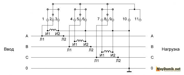 Десятипроводная схема подключения счетчика