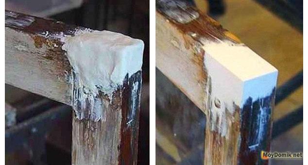 Восстановление разрушенных частей оконной рамы