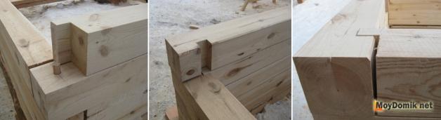 """Способ сборки угла деревянного дома из бруса в """"теплый угол"""""""