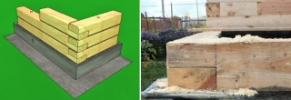 Сборка стен из бруса способом «в полдерева»