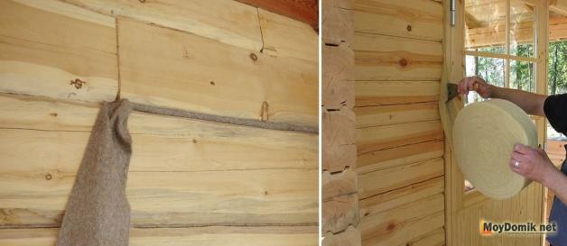 Конопатка брусовых стен и утепление проемов (оконных, дверных)