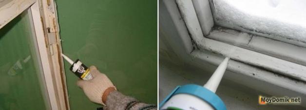 Теплоизоляция деревянных окон силиконом