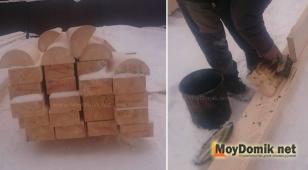 Брус и половинки бревен (стёсанные наполовину) для окладного венца и обработка древесины