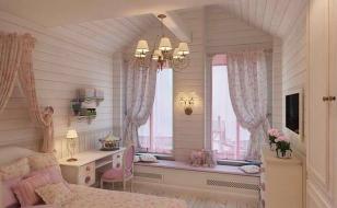 Спальня в стиле прованс в интерьере дома из бруса