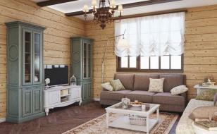 Интерьер гостиной в стиле прованс в доме из бруса