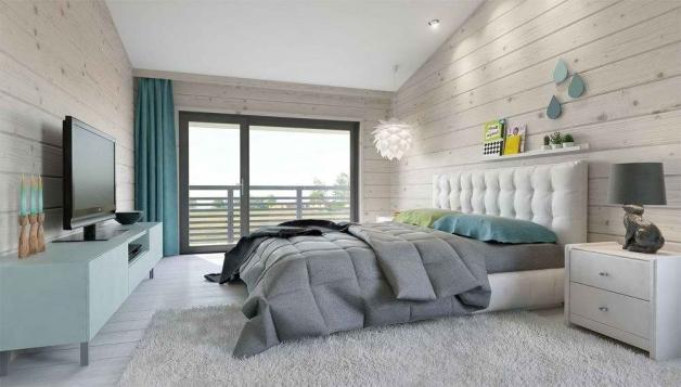 Дизайн спальни в интерьере брусового дома