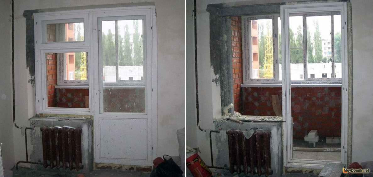 Французское окно вместо балконного блока, двери - замена, ус.
