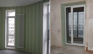 Узкие и высокие радиаторы отопления вдоль французских окон