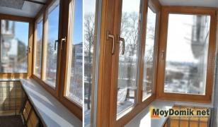 Остекление балкона деревянными стеклопакетами (вид изнутри)