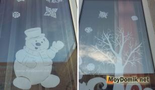 Как украсить окна на Новый год - снежинки, дерево и снеговик из бумаги