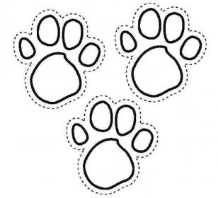 Шаблон для украшения окнон на Новый год Собаки - собачьи следы
