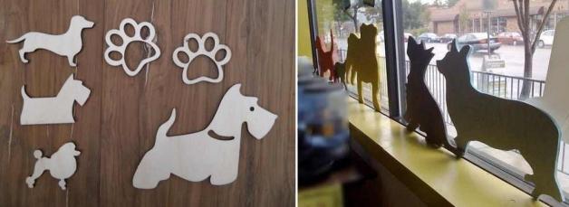Фигуры собак, вырезанные из фанеры