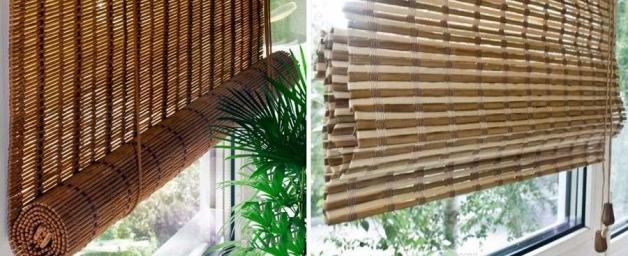 Бамбуковые жалюзи в интерьере балкона