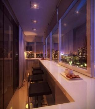 Дизайн большого балкона в новостройке