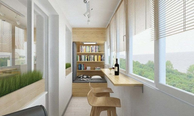 Дизайн длинного балкона