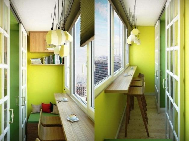 Дизайн балкона с французским окном вместо балконного блока
