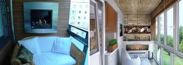 Камин в интерьере балкона