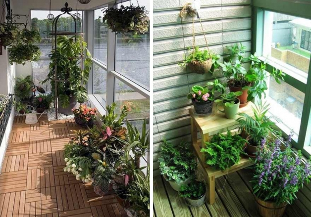 Зимний сад в интерьере балкона