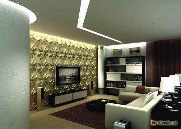 Интерьер декоррированный 3д панелями с подсветкой