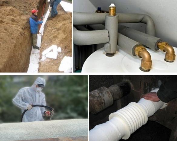 Теплоизоляция труб отопления жесткими, мягкими и напыляемыми утеплителями