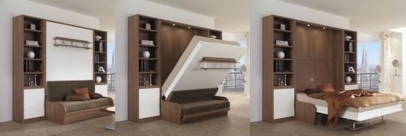 Интерьер квартиры-студии с кроватью-трансформером