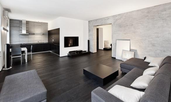 Дизайн квартиры-студии в сером цвете