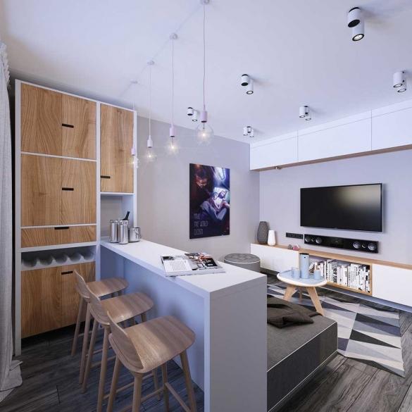 Интерьер квартиры-студии с барной стойкой