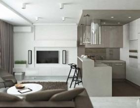 Дизайн квартиры-студии в нейтральных тонах