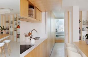 Красивый дизайн кухни-гостиной в частном доме