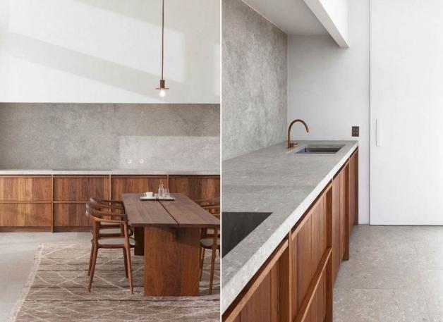 Дизайн кухни с ипользованием в отделке камня