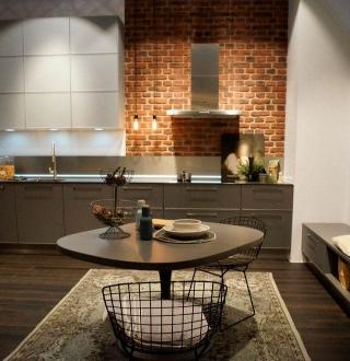 Пример, как можно обустроить кухню в частном доме