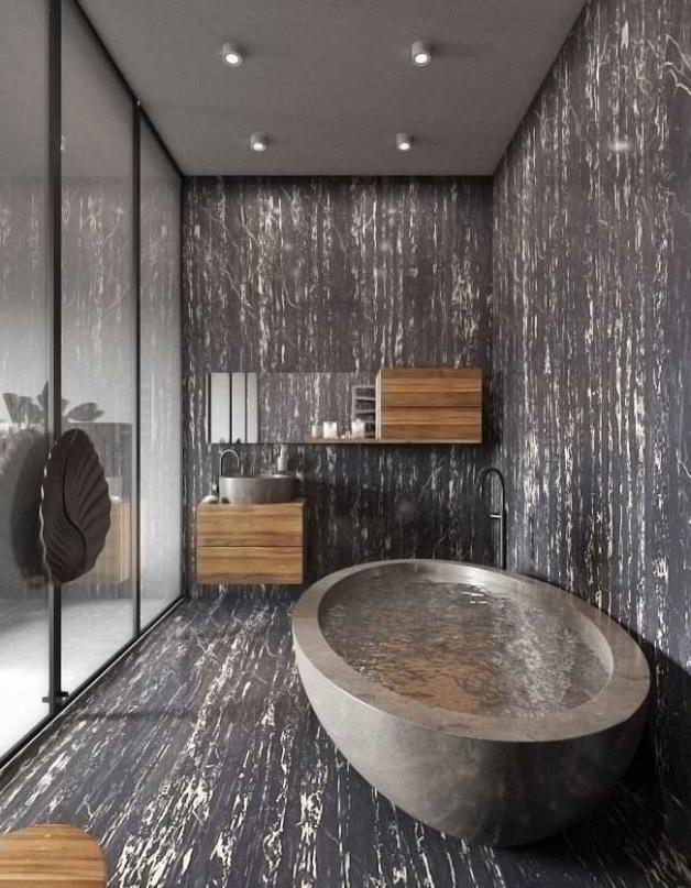 Интерьер ванной комнаты без использования плитки
