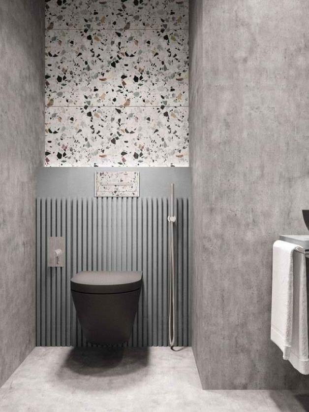 Стены в ванной под бетон