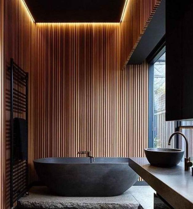 Дизайн ванной комнаты без плитки на стенах