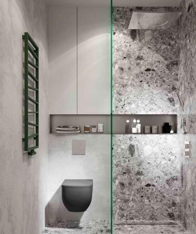 Облицовка стен в ванной терраццо