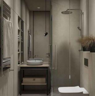 Серая ванная с большим зеркалом