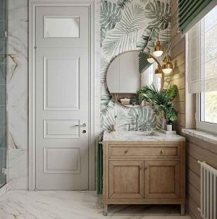 Обои с цветами в ванной