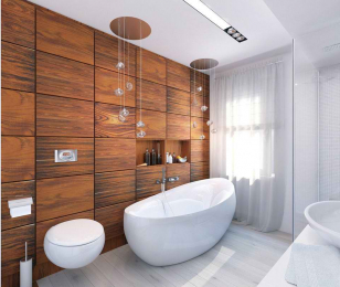 Фасад из дерева в ванной