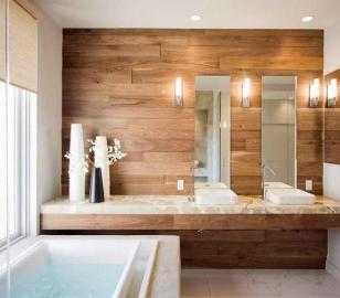 Деревянные панели в дизайне ванной