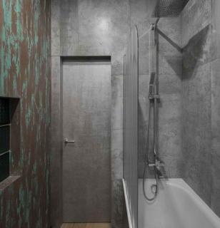 Оштукатуренные стены в ванной