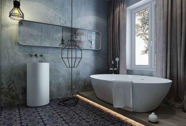 Штукатурка имитирующая бетонные стены в ванной